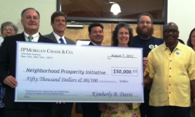 JPMorgan Chase presents big 50,000 check to Commissioner Fritz