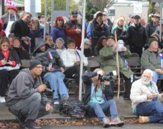 Crowd watching speeches at Veterans Day parade 2012