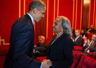 Rachel Robinson with President Obama