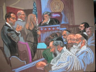 courtroom sketch Rabbis in court
