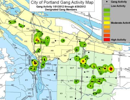Map of gang activity Jan2012 through April 2012