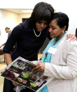 Michelle Obama and Teressa Raiford