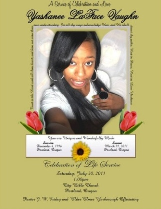 Yashanee Vaughn Celebration of Life invite