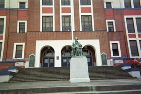 Front steps of Jefferson High School in Portland, Oregon