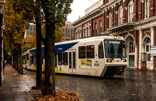MAX train in downtown Portland