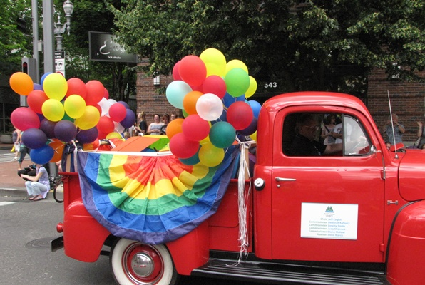 a Multnomah County vehicle in the 2012 Portland Pride parade