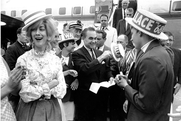 George Wallace arriving in Boston in 1968