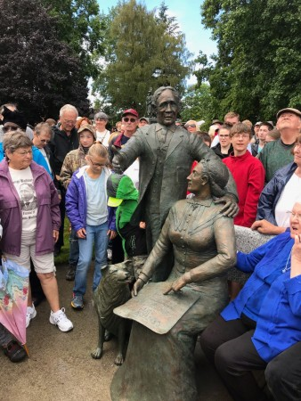 centralia founder statue crowd