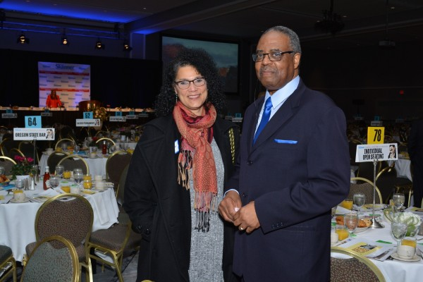 Jerry Foster, Sales and Advertising Manager at The Skanner News (right) with guest of the 31st MLK Breakfast, Portland, Jan. 16, 2017 (Mike Norris)