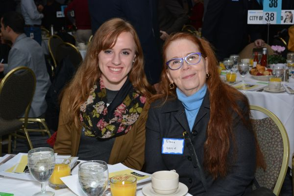 The Skanner Foundation Scholarship recipient, Eli Cooney (left) at the 31st MLK Breakfast, Portland, Jan. 16, 2017 (Mike Norris)