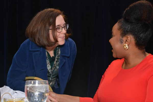 Gov. Kate Brown (left) and The Skanner's Jasmine S. Streeter (right) at the 31st MLK Breakfast, Portland, Jan. 16, 2017 (Mike Norris)