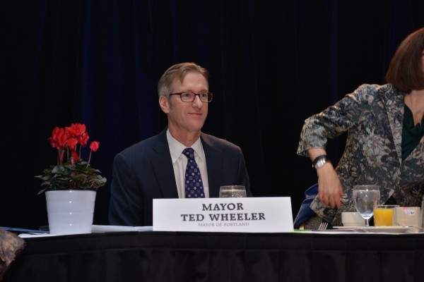 Portland Mayor Ted Wheeler at The Skanner's 31st MLK Breakfast, Portland, Jan. 16, 2017 (Mike Norris)