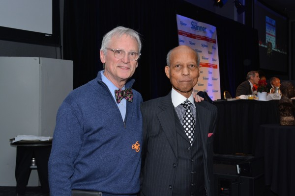 Guest (left) with The Skanner Publisher, Bernie Foster (right), at the 31st MLK Breakfast, Portland, Jan. 16, 2017 (Mike Norris)