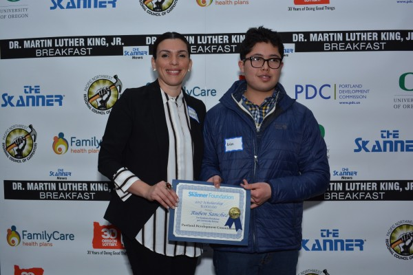 The Skanner Foundation Scholarship recipient, Ruben Sanchez (right) with Portland Development Commission sponsor (left) (Mike Norris)