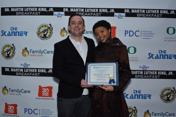 The Skanner Foundation Scholarship recipient, McKenzie Strong (right) with Home Forward sponsor (left) (Mike Norris)