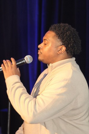Singer Alonzo Chadwick at The Skanner's 31st MLK Breakfast, Portland, Jan. 16, 2017 (Antonio Harris)