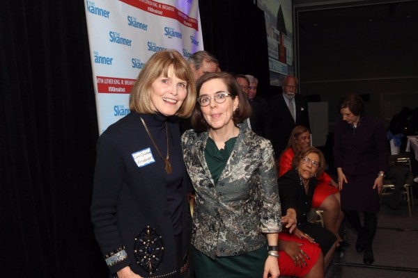 Carol Ocheltree (left) with Gov. Kate Brown (right) at The Skanner's 31st MLK Breakfast, Portland, Jan. 16, 2017 (Antonio Harris)