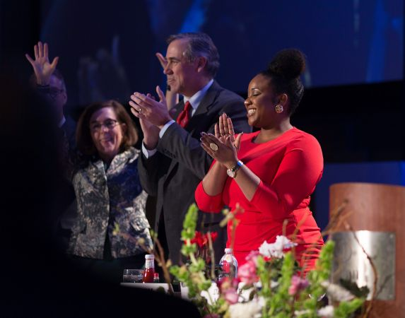 Gov. Kate Brown (left), U.S. Sentor Jeff Merkley of Oregon (middle) and Jasmine S. Streeter (right) at the 31st MLK Breakfast, Portland, Jan. 16, 2017 (Antonio Harris)