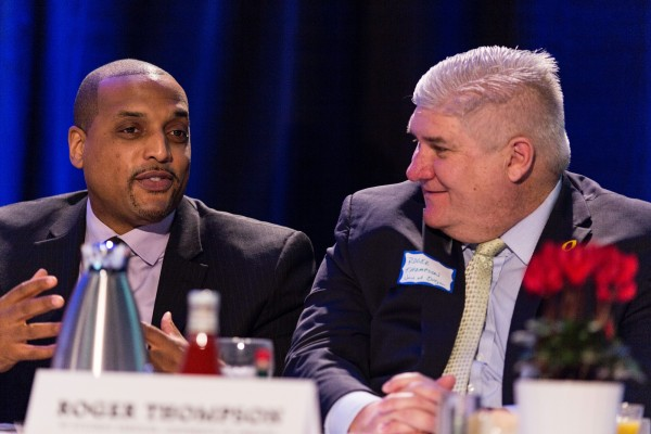 Lamar Tillman of Family Care Health (left) and Roger Thompson of the University of Oregon (right) at The Skanner's 31st MLK Breakfast, Portland, Jan. 16, 2017 (Antonio Harris)