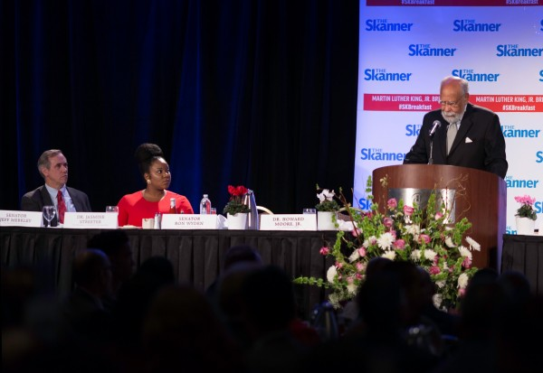 Keynote Speaker Howard Moore Jr. at The Skanner's 31st MLK Breakfast, Portland, Jan. 16, 2017 (Antonio Harris)