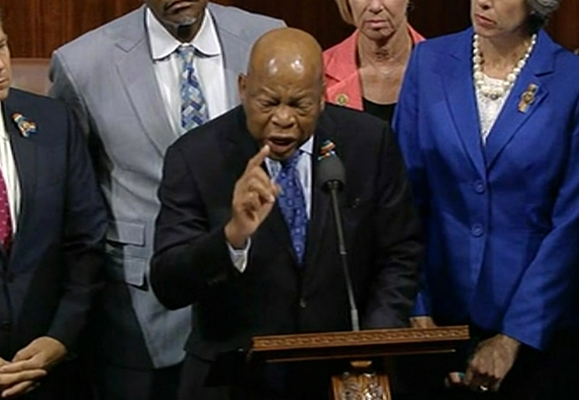 Georgia Rep. John Lewis leads more than 200 Democrats in demanding a vote on measures to expand background checks