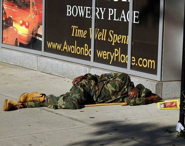 Homeless vet sleeping in New York's Bowery neighborhood