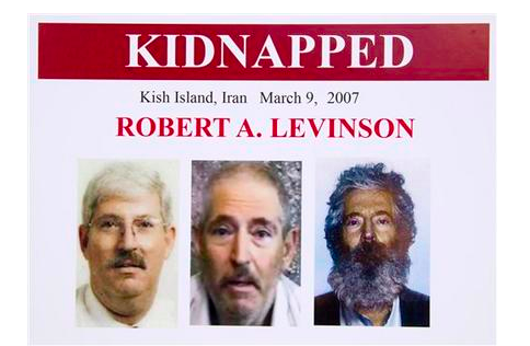 An FBI poster showing a composite image of retired FBI agent Robert Levinson