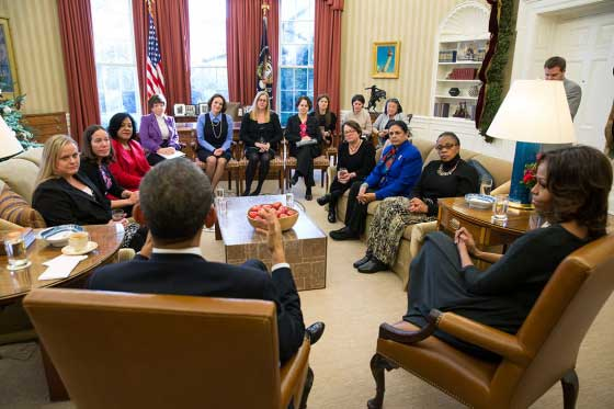 President Barack Obama and First Lady Michelle Obama meet with mothers regarding the Affordable Care Act in the Oval Office, Dec. 18, 2013. (Official White House Photo by Pete Souza)