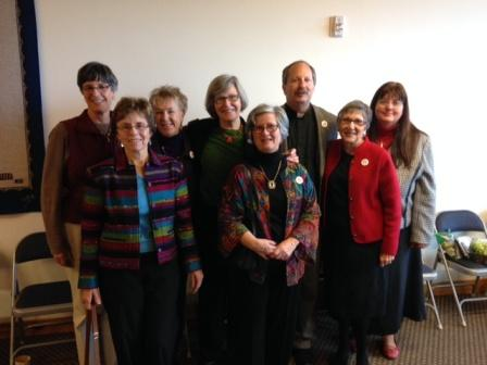 Sister Simone Campbell with Father David Zegar and board members of One Spirit, One Call