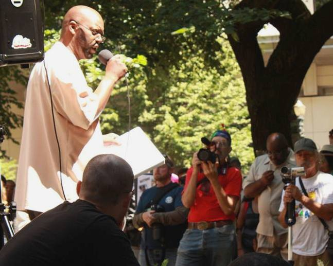 Fred Bryant speaking at a rally to protest the verdict in the Trayvon Martin shooting