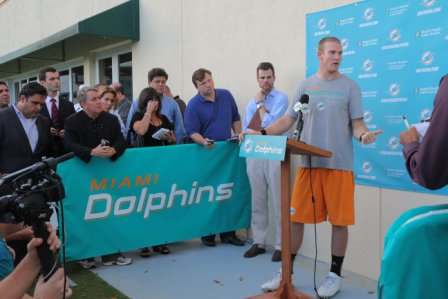 Dolphins. Quarterback Ryan Tannehill speaks to the media.
