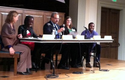 "The panel at a First Unitarian Church discussion on how to end ""The New Jim Crow"""