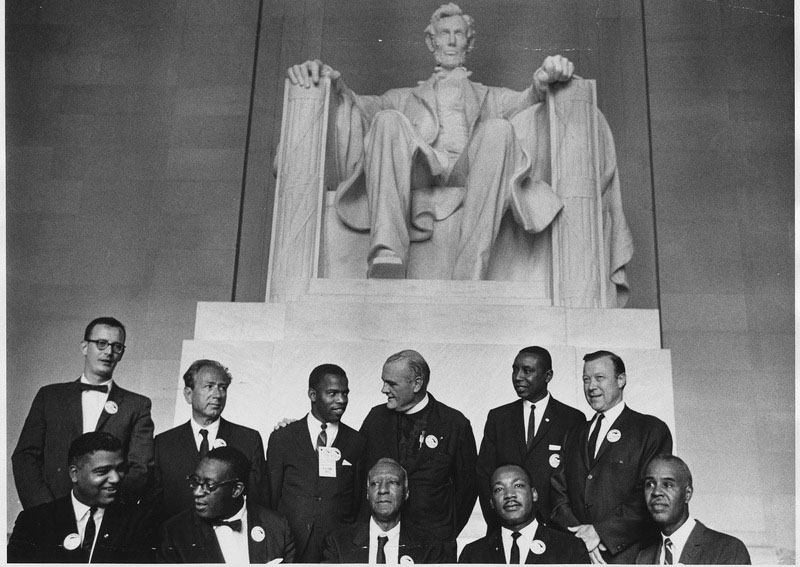 Civil Rights leaders under statue of Abraham Lincoln