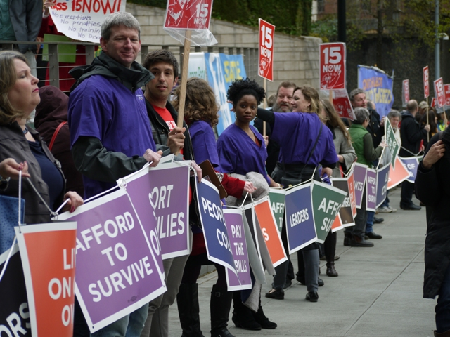 living wage protestors