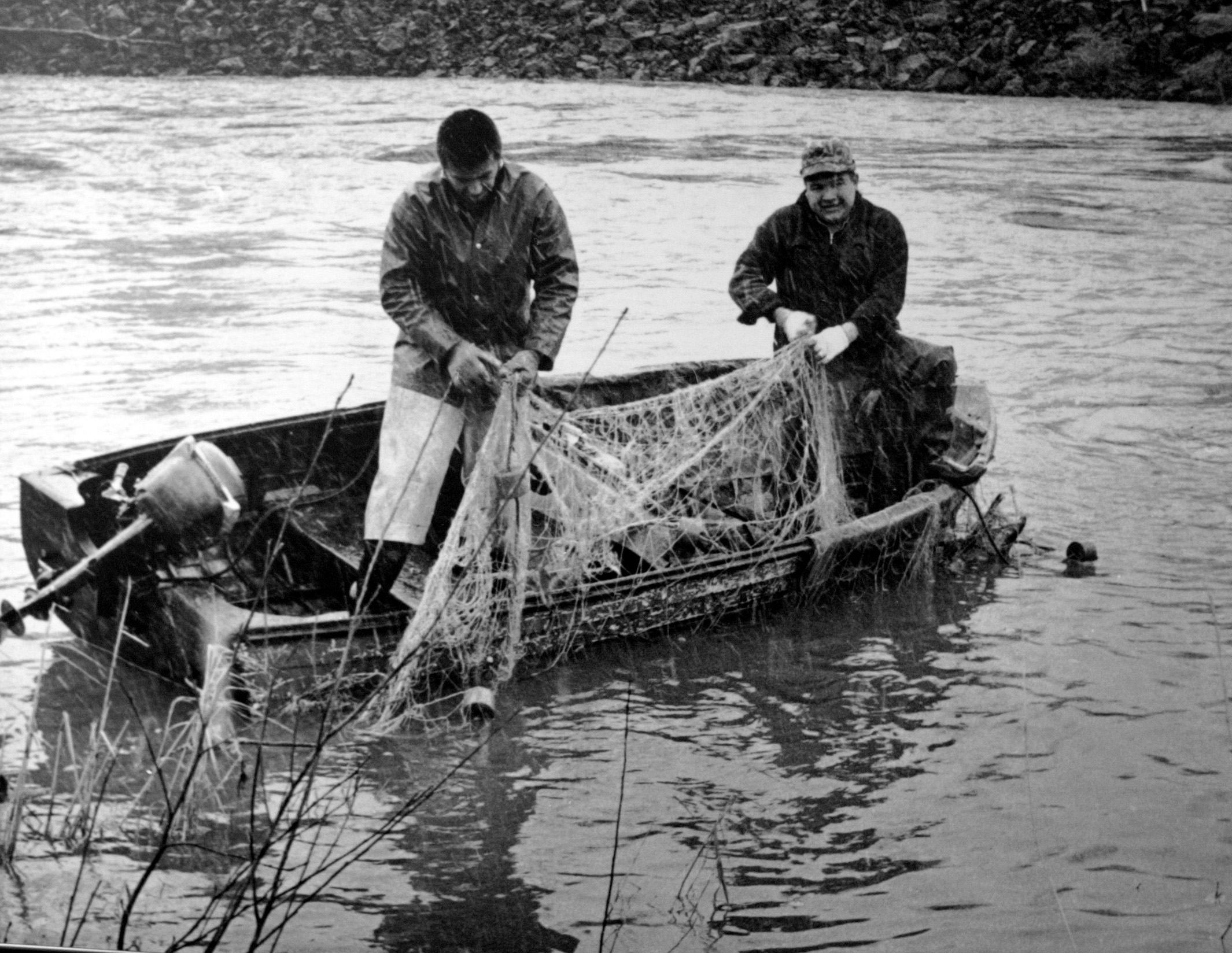 Billy Frank Jr. fishes on the NisquallyRiver near Olympia, Wash. with his half brother Don McCloud