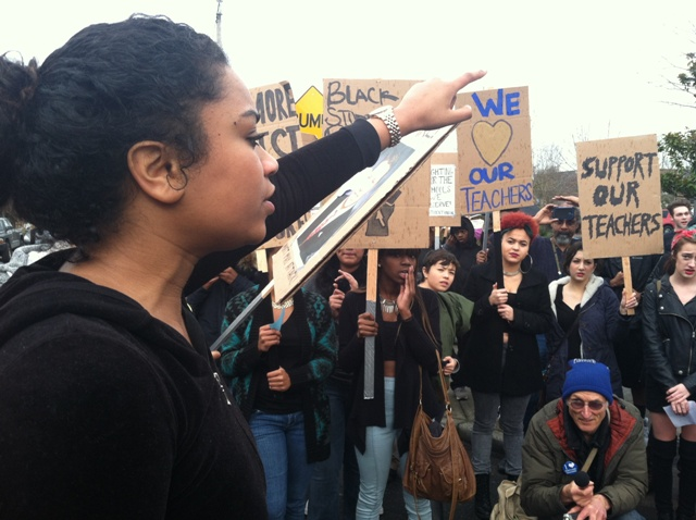 Jefferson students led by Sekai Edwards marched in solidarity with their teachers