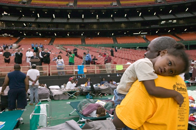 Survivors of Hurrican Katrina sheltered in the New Orleans Asrtrodome