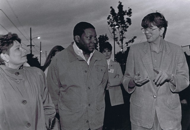 Portland Mayor Vera Katz, Portland Police Chief Charles Moose and US Attorney General Janet Reno in the King Neighborhood