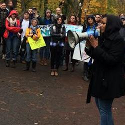 Teressa Raiford speaks at PSU police rally