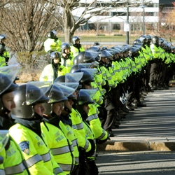 Police line up at police accountability protest in Boston