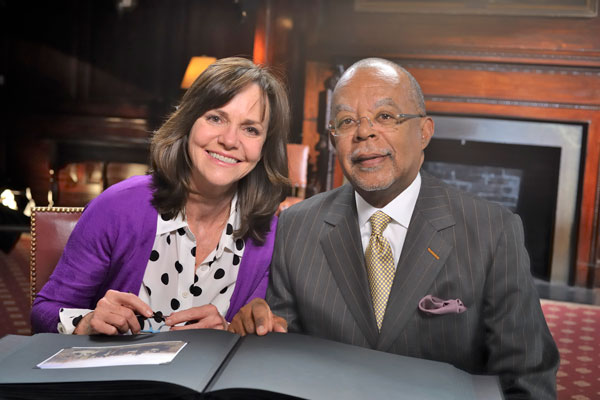 Sally Field and Henry Louis Gates, Jr. during the filming of Finding Your Roots – Season Two. Photo credit: ©2014 WNET/ Joseph Sinnott