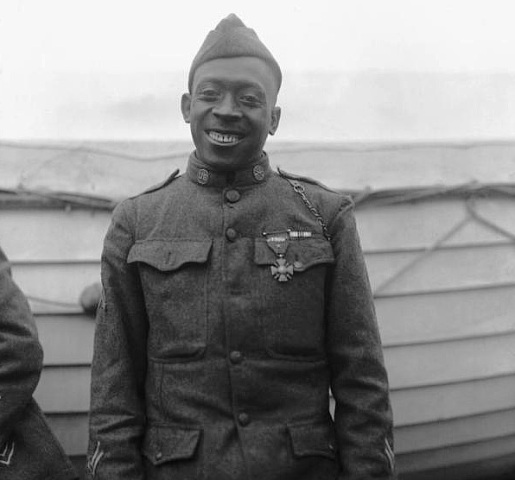 Sgt. Henry Lincoln Johnson wearing the Croix de Guerre