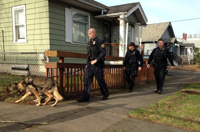 Portland Police canine unit searches block near shooting