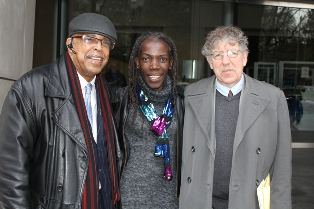 Pictured from left: Rev. Dr. Leroy Haines and JoAnn Hardesty with Michael Rose, longtime defense attorney.