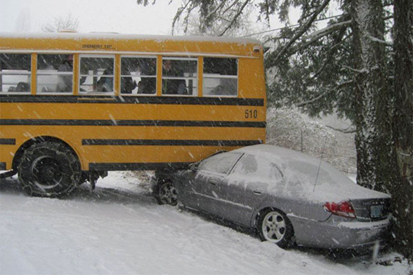 School bus snow accident