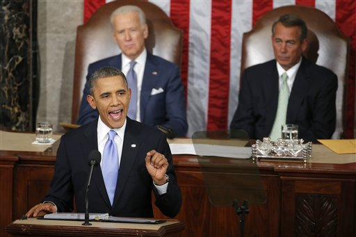 President Barack Obama speaking to Congress