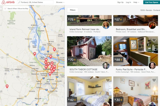 Screengrab of AirBnb website