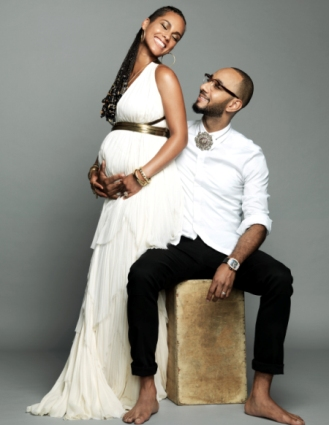 Pregnant Alicia Keys with Swiss Beatz
