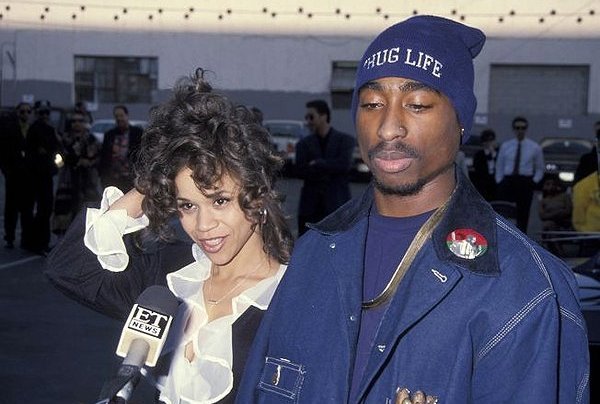 Rosie Perez pictured with Tupac Shakur