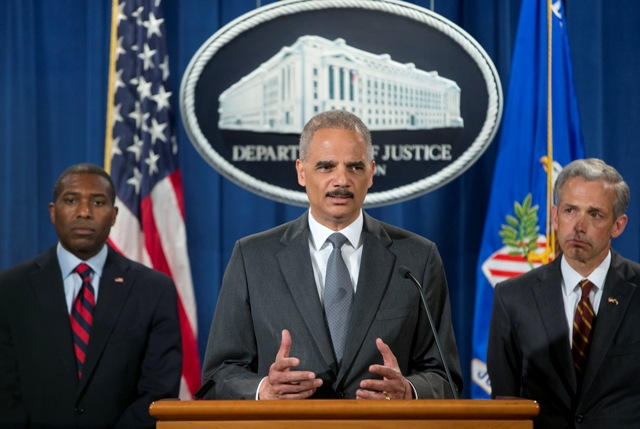 Attorney General Eric Holder with Tony West and Colorado US Attorney John Walsh